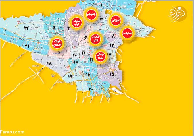 لیست مناطق دکل پارازیت در تهران